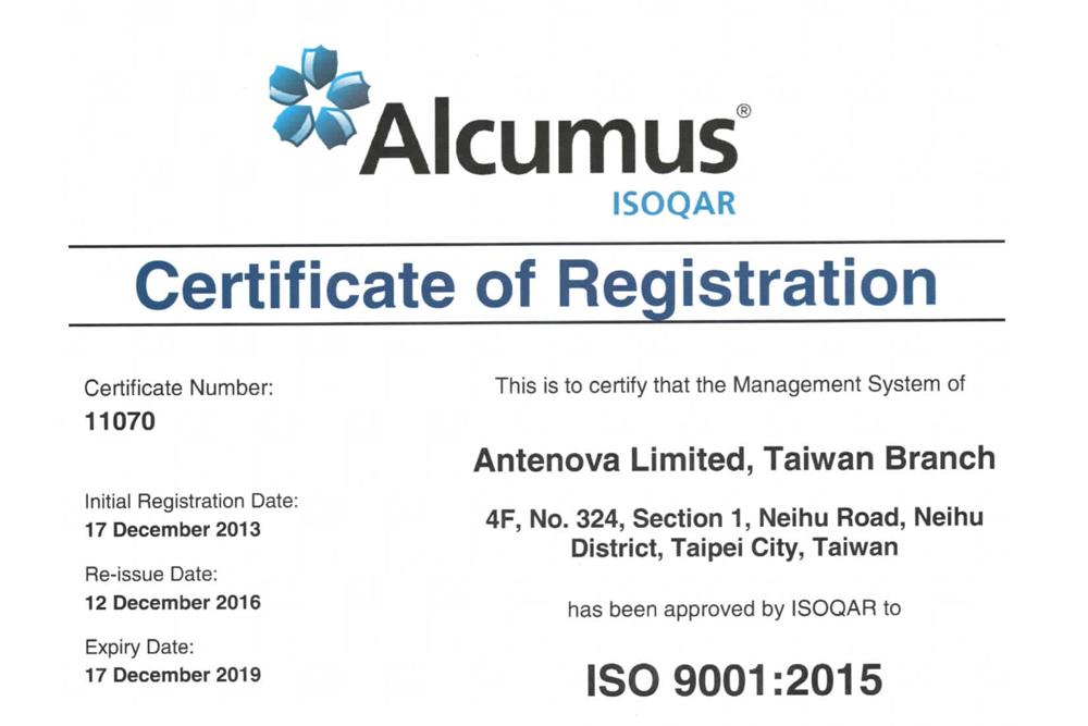 Antenova ISO 9001 2015 Certificate of Registration