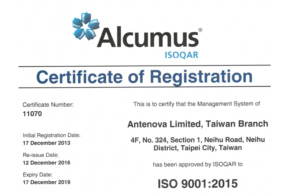 Antenova ISO 9001 2015 Certificate of Registration